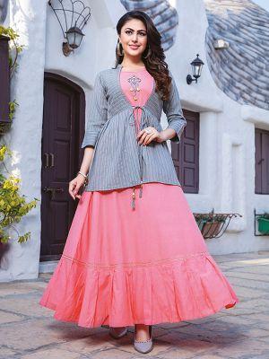 Chulbuli Light Pink Cotton Kurti With Fancy Grey Jacket