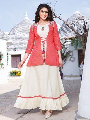 Chulbuli White Cotton Kurti With Fancy Light Pink Jacket