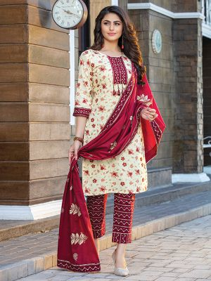 Cotton Candy Beige Printed Cotton Kurti with Dupatta and Pant Set