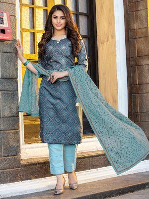 Cotton Candy Grey Printed Cotton Kurti with Dupatta and Pant Set