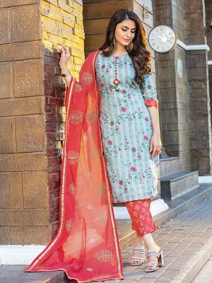 Cotton Candy Sky Blue Printed Cotton Kurti with Dupatta and Pant Set