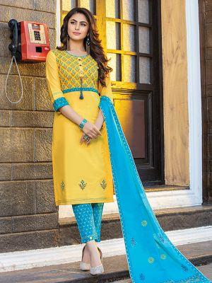 Cotton Candy Yellow Printed Rayon Kurti with Dupatta and Pant Set
