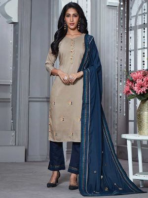 Crystal Grey Embroidered Kurti with Dupatta and Pant Set