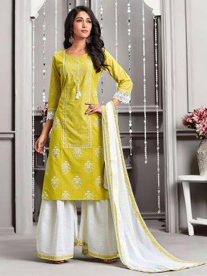 Crystal Lemon Green Rayon Kurti with Sharara and Dupatta Set