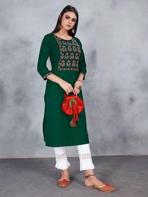 Dark Green Designer Embroidery Premium Rayon Kurti