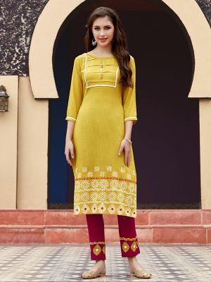 Fancy Straight Yellow Rayon Printed Kurti With Pant