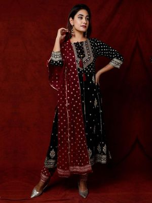 Fashion Black Printed Rayon Kurti With Pant & Dupatta Set