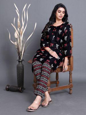 Fashion Black Ruby Slub Printed Kurti With Stylish Pant