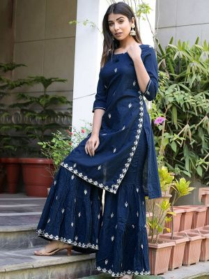 Fashion Blue Cotton Embroidered Kurti With Stylish Sharara