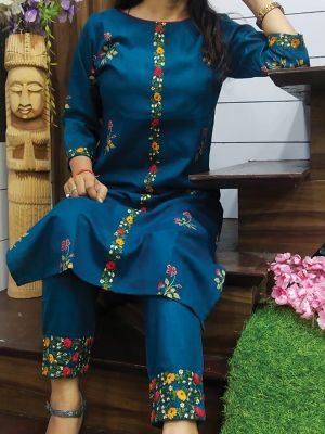 Fashion Blue Printed & Embroidered Cotton Kurta With Pant