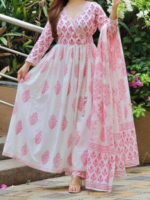 Fashion Light Pink Cotton Printed Kurti With Dupatta Set