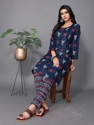 Fashion Navy Blue Ruby Slub Printed Kurti With Stylish Pant