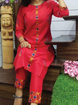 Fashion Red Printed & Embroidered Cotton Kurta With Pant