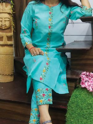 Fashion Sky Blue Printed & Embroidered Cotton Kurta With Pant