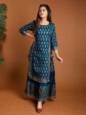 Fashion Stylish Blue Cotton Printed Kurti With Fancy Skirt