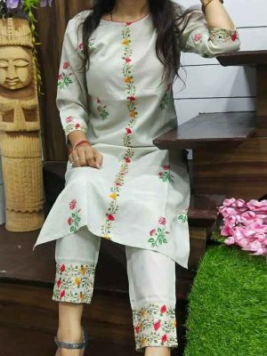 Fashion WhitePrinted & Embroidered Cotton Kurta With Pant