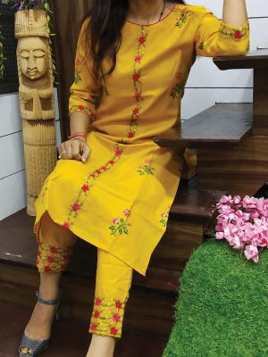 Fashion Yellow Printed & Embroidered Cotton Kurta With Pant