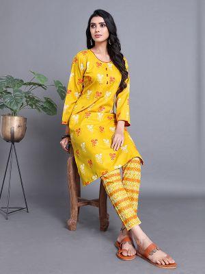 Fashion Yellow Ruby Slub Printed Kurti With Stylish Pant