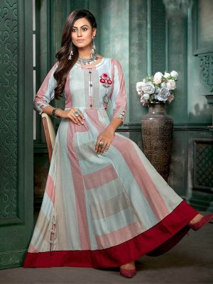 Fashionable Grey Embroidered Gown Kurti
