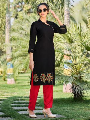 Feminine Black Rayon Embroidered Kurti With Stylish Palazzo