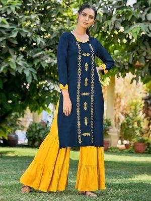 Feminine Blue Rayon Embroidered Kurti With Stylish Palazzo