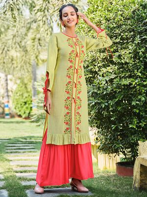 Feminine Lemon Green Rayon Embroidered Kurti With Stylish Sharara