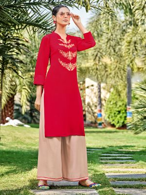 Feminine Tometo Red Rayon Embroidered Kurti With Stylish Palazzo