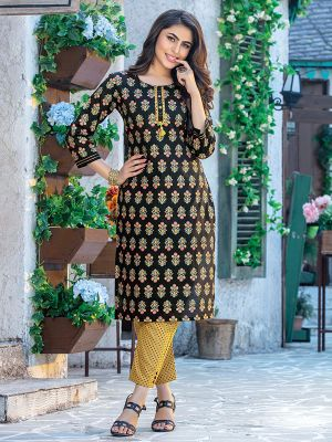 Fitoor Black Printed Ladies kurti with Orange Pant