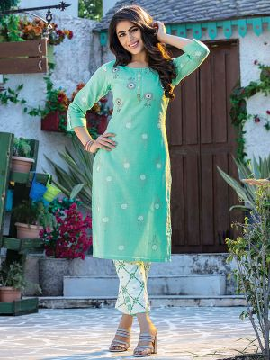 Fitoor Cyan Cotton Printed kurti with White Pant