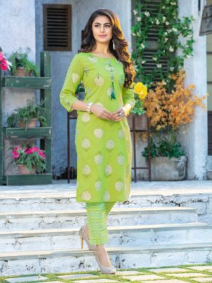 Fitoor Lemon Green Cotton Printed Kurti with multicolour Cotton Pant