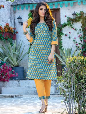 Fitoor Light Blue Rayon Printed  Kurti with Fancy Pant