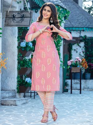 Fitoor Light Pink Cotton Kurti with Multicolour Pant
