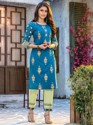 Fitoor Rayon Blue Kurti with Cotton Pista Green Pant