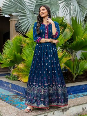 Flary Blue Rayon Printed Gown Type Kurti