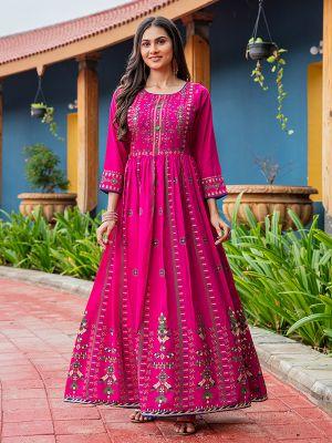 Flary Dark Pink Rayon Printed Gown Type Kurti