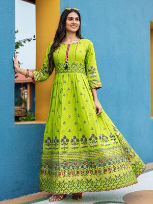 Flary Green Rayon Printed Gown Type Kurti