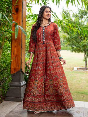 Flary Maroon Rayon Printed Gown Type Kurti