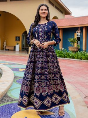 Flary Navy Blue Rayon Printed Gown Type Kurti