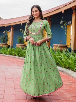 Flary Pista Green Rayon Printed Gown Type Kurti
