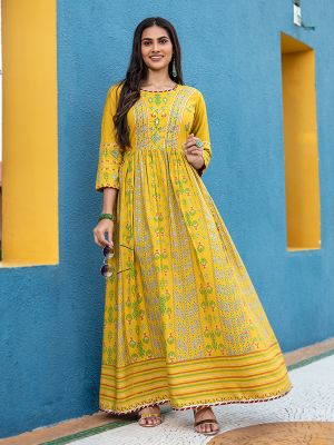 Flary Yellow Rayon Printed Gown Type Kurti