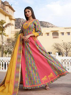 Ghoomar Multicolor Cotton Printed Gown Kurti With Yellow Dupatta