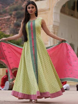 Ghoomar Pista Cotton Printed Gown Kurti With Pink Dupatta
