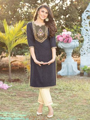 Gorgeous Black Grey Cotton Embroidered Kurti With Pant