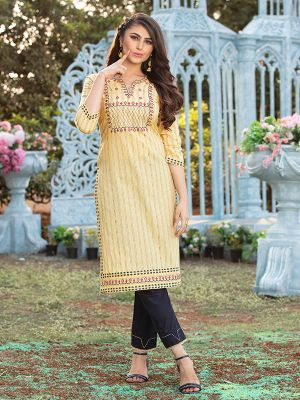 Gorgeous Dark Beige Cotton Embroidered Kurti With Pant