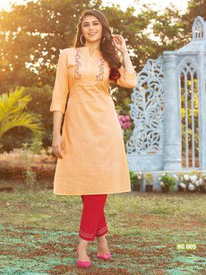 Gorgeous Light Orange Cotton Embroidered Kurti With Pant