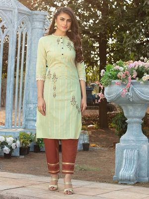 Gorgeous Pista Green Cotton Embroidered Kurti With Pant