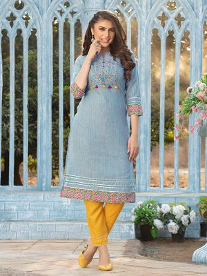 Gorgeous Sky Grey Cotton Embroidered Kurti With Pant