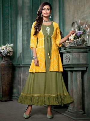 Green Cotton Printed Kurti with Fancy Yellow Jacket