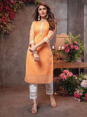 Lakhnavi Orange Chanderi Embroidered Kurti With Pant