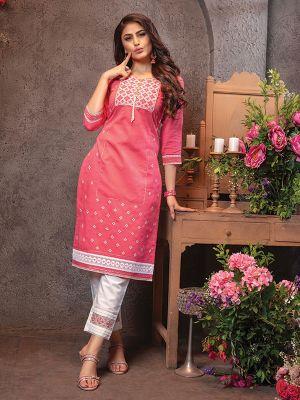 Lakhnavi Pink Chanderi Embroidered Kurti With Pant
